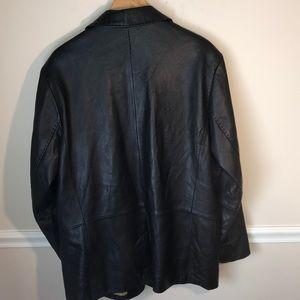 Kenneth Cole Suits & Blazers - Kenneth Cole New York Black Leather Blazer XL